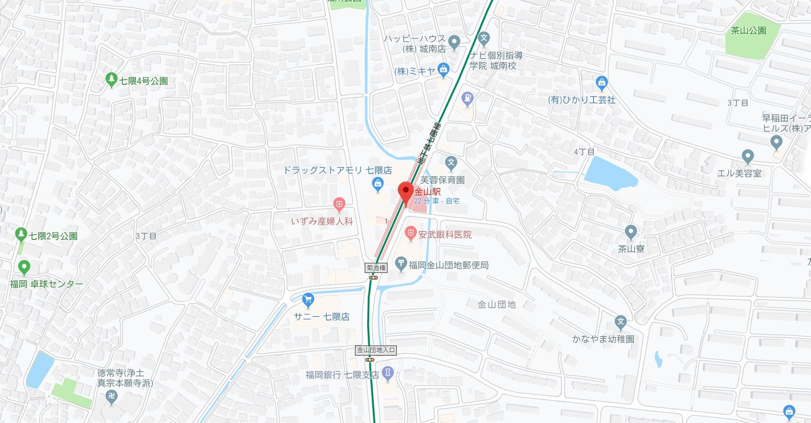 地下鉄七隈線 金山駅エリア(福岡市城南区)