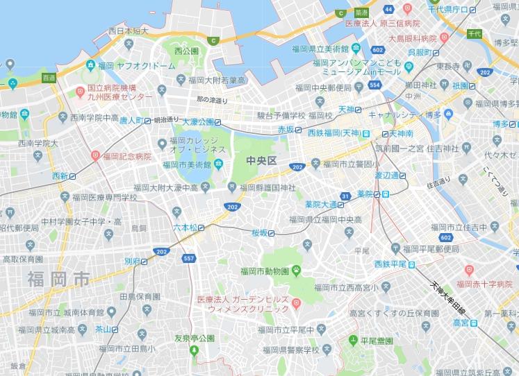 福岡市中央区地図