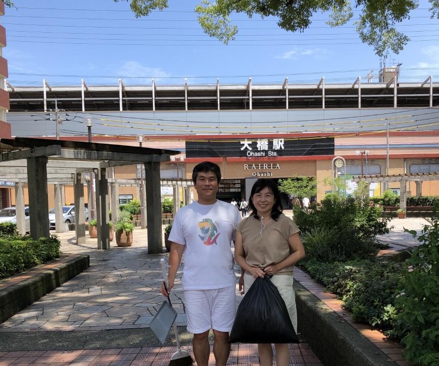 紺碧の空のもと、大橋駅前を徹底的に綺麗にしました
